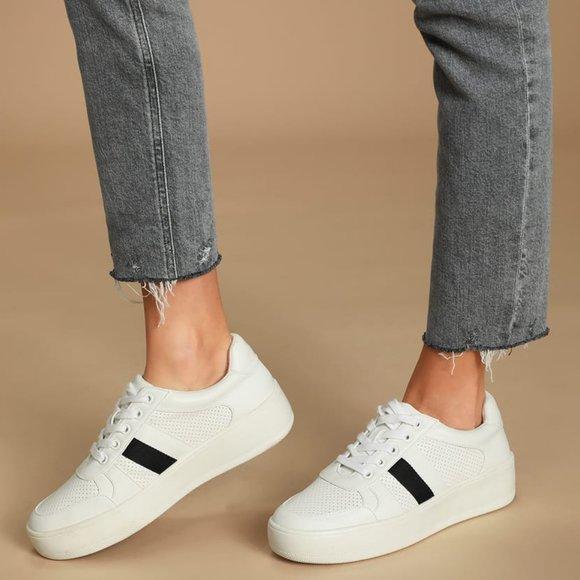 Steve Madden Braden White Multi Flatform Sneakers